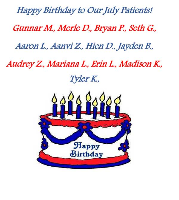 A picture with the names of patients who have birthdays in July.
