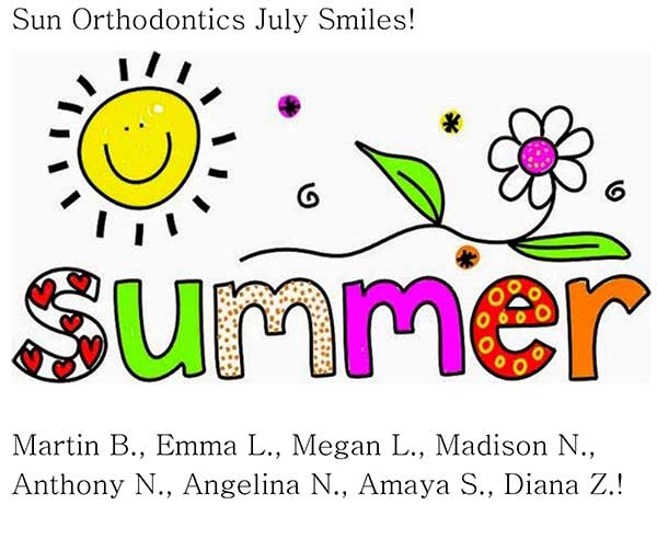 A picture with the names of patients who are getting their braces taken off in July.