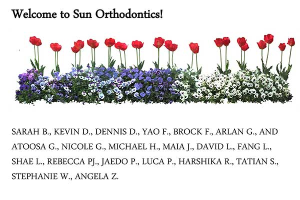 A picture of the names of new patients for the month of July.